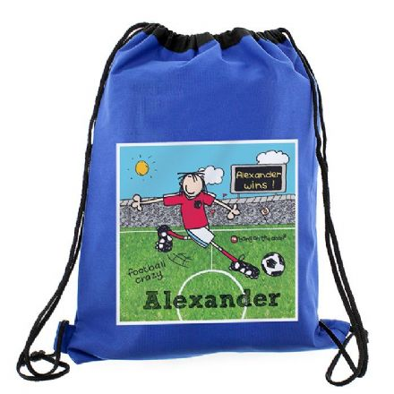 Personalised Bang On The Door Football Crazy Drawstring Swim & Kit Bag